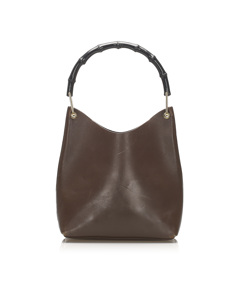 Gucci Bamboo Leather Shoulder Bag Brown