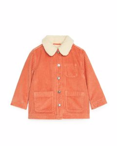 Cordjacke mit Teddyfutter Orange