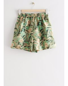 Floaty Floral Print Shorts Green Florals