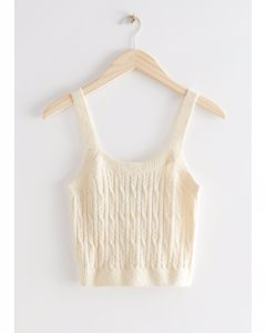 Cable Knit Tank Top Cream