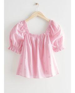 Puff Sleeve Ruffle Top Pink