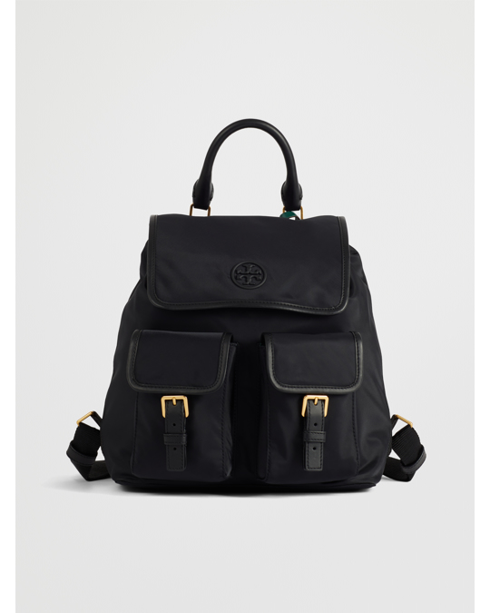 Tory Burch Perry Nylon Flap Backpack Black