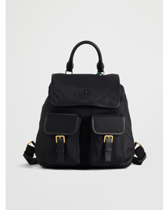 Perry Nylon Flap Backpack Black