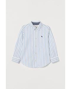Katoenen Overhemd Wit/lichtblauw Gestreept