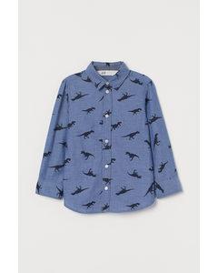 Cotton Shirt Blue/dinosaurs