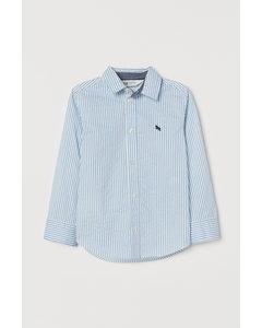 Bomullsskjorta Ljusblå/randig