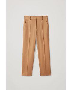 Wool Wide-leg Pressed Crease Trousers Brown