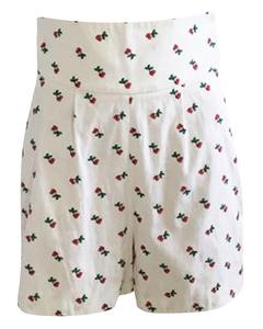 White High Waist Cherry Shorts