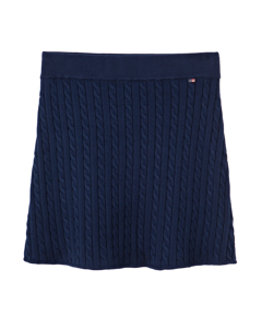 Chastity Cotton Cable Skirt Dress Blue