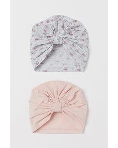 2-pack Cotton Turbans Light Pink/floral