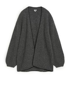 Leather Trimmed Wool Cardigan Dark Grey