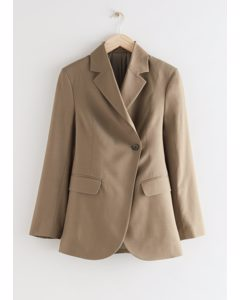 Fitted Single Breasted Overlap Blazer Khaki
