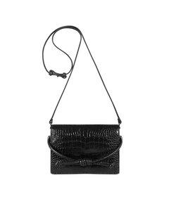 Midi Chelsea Clutch Bag, Black Croc