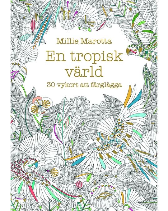 Printworks En Tropisk Värld - 30 Vykort Att Färglägga White