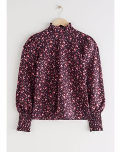 Smocked Cuff High Collar Top Red Florals