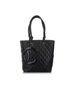 Chanel Cambon Ligne Lambskin Leather Tote Bag Black