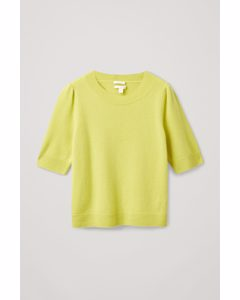 Cashmere Puff Sleeve Knitted Top Yellow