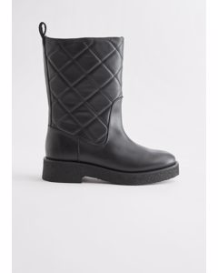 Diamond Quilted Leather Boots Black
