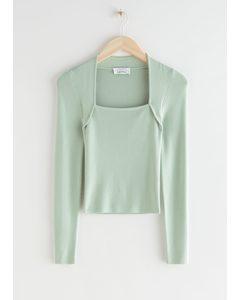 Long Sleeve Tubular Neck Sweater Mint