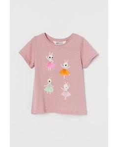 Shirt mit interaktivem Motiv Altrosa/Ballerinas