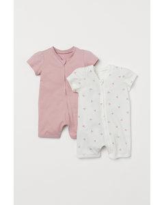 Set Van 2 Pyjamapakjes Lichtroze/kersen