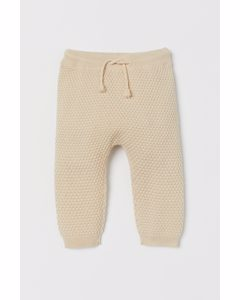 Textured-knit Trousers Light Beige