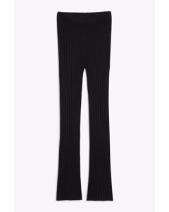 Straight-leg Ribbed Trousers Black