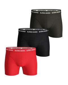 Björn Borg 3-pack Boxers Solids Rood/zwart/bruin Multi