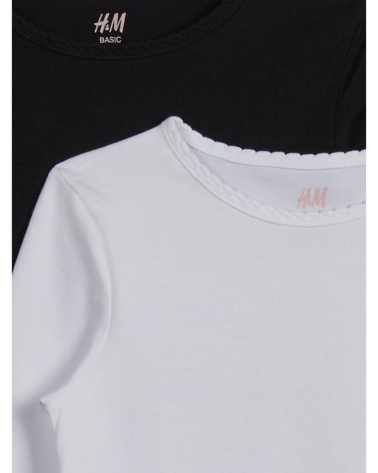 H&M 2-pack long-sleeved tops White/Black