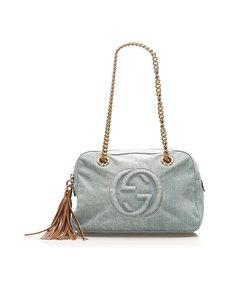 Gucci Soho Denim Shoulder Bag Blue