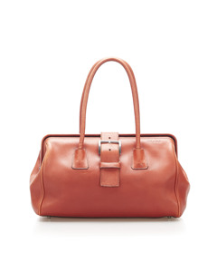 Prada Vitello Fibbia Handbag Orange