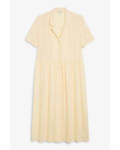 Midi Button-up Shirt Dress Yellow
