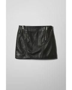 Sitar Leather Skirt Black