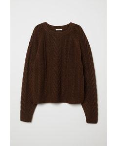 Pullover mit Zopfmuster Dunkelbraunmeliert