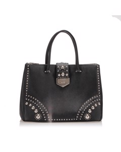 Prada Studded Saffiano Double Zip Tote Bag Black
