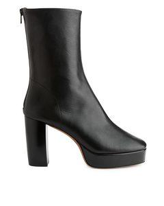 Platform Leather Boots Black