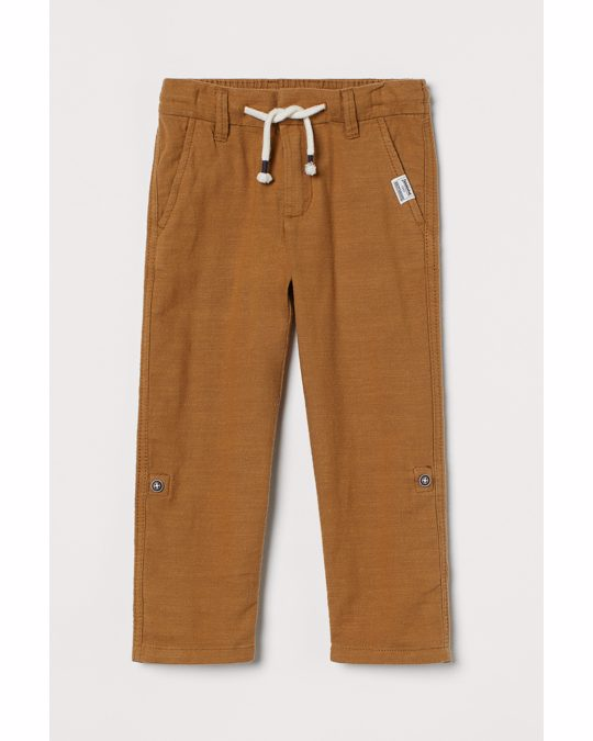 H&M Straight Fit Twill Trousers Brown