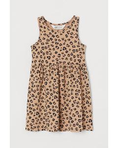 Mönstrad Trikåklänning Beige/leopardmönstrad