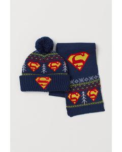 2-teiliges Set mit Applikation Dunkelblau/Superman