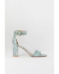 Sandaletten Mintgrün/Schlangenmuster