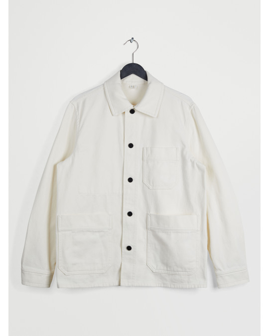 Arket Cotton Twill Workwear Jacket Off White