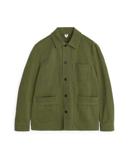 Arket Cotton Twill Workwear Jacket Green