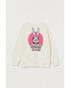Sweatshirt Med Tryck Naturvit/looney Tunes