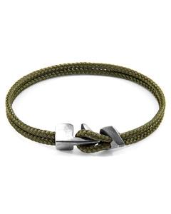 Anchor & Crew Khaki Green Brixham Silver And Rope Bracelet