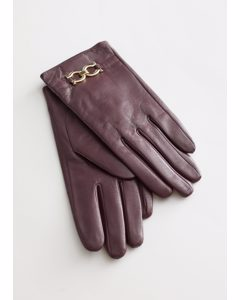 Buckle Embellished Leather Gloves Maroon