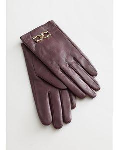 Buckle Embellished Leather Gloves Maroon