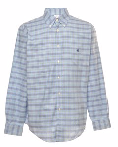 Blue Brooks Brothers Checked Shirt