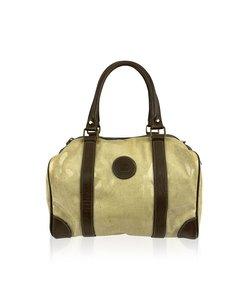 Fendi Vintage Light Yellow Vinyl Canvas Boston Bag Handbag