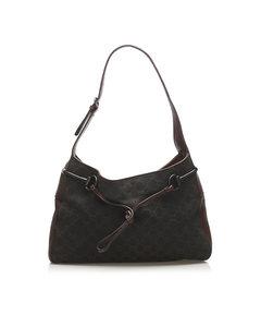 Gucci Gg Canvas Horsebit Shoulder Bag Black