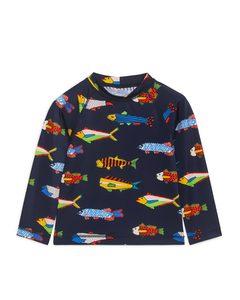 Langarmshirt mit UV-Schutz Dunkelblau/Fischmuster